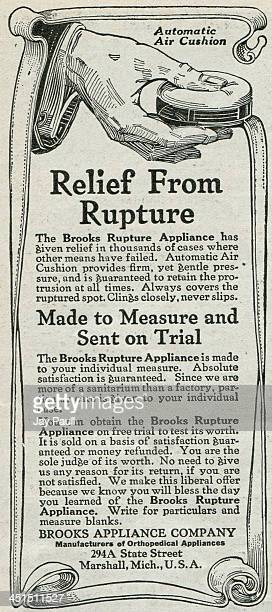 Advertisement for Brooks Rupture Appliance for hernia treatment by the Brooks Appliance Company 1918
