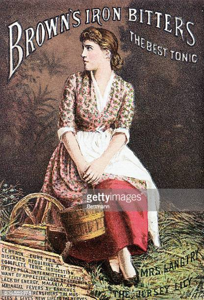 Advertisement for Browns Iron bitters Tonic with testimonial by actress Lily Langtry