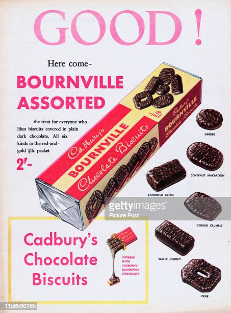 Advertisement for Cadbury's Bournville Chocolate Biscuits with the caption 'GOOD! Here come - Bournville Assorted.' Original Publication: Picture...