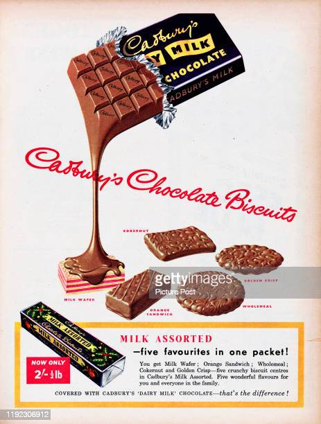 Advertisement for Cadbury's Milk Assorted Chocolate Biscuitsshowing a Dairy Milk chocolate bar pouring on to biscuits Original Publication Picture...
