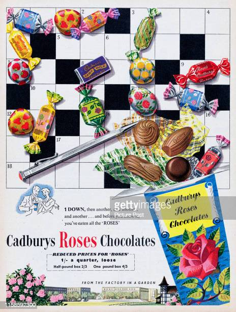 Advertisement for Cadburys Rosesshowing an assortment of chocolates against a crossword puzzle Original Publication Picture Post Ad Vol 72 No 11 P...