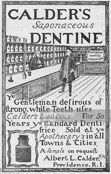 Advertisement for Calder's Dentine Saponaceous tooth cleaner by Albert Calder Company in Providence, Rhode Island, 1899.