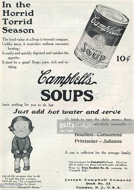 Advertisement for Campbell's Soups by the Joseph Campbell Company in Camden, New Jersey, 1907. The ad features one of the earliest Campbell's kids.
