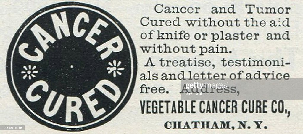 Advertisement for cancer cure by the Vegetable Cancer Cure
