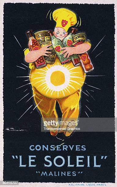Advertisement for canned and bottled produce features a rotund figure in a yellow and a chef's cap as he carries an armload of 'Le Soleil' brand...