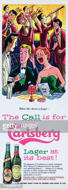 Advertisement for Carlsberg lager showing a couple ordering drinks with a waiter Original Publication Picture Post Ad Vol 72 No 7 P 33 pub 18th...