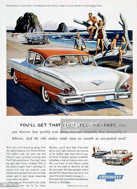 Advertisement for Chevrolet Biscayne 4door Sedan circa 1950 Illustration with rear view of car in beach scene main text 'You'll Get That Chevy...