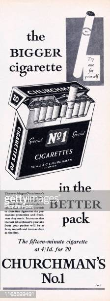 Advertisement for Churchman's No 1 Cigarettes with the caption 'The BIGGER cigarette in the BETTER pack' Original Publication Picture Post Ad Vol 73...