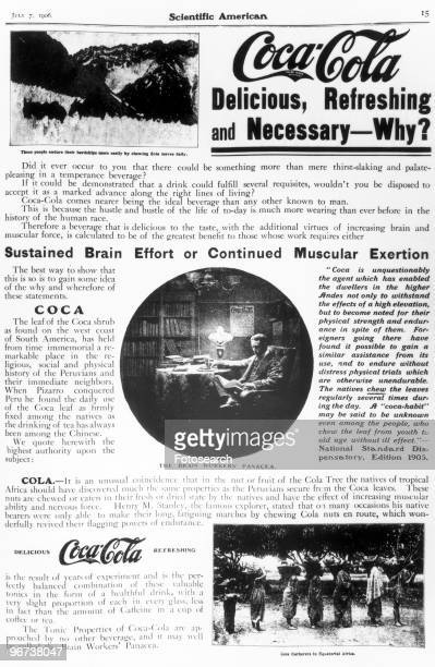 Advertisement for CocaCola Mixed text and imagery 'CocaCola Delicious Refreshing and Necessary�Why' page 15 of Scientific American 7 July 1906