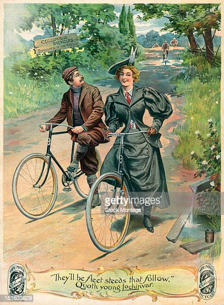 Advertisement for Columbia bicycles features an illustration of a couple as they cycle on a country road 1890s Teh text at bottom reads 'They'll be...