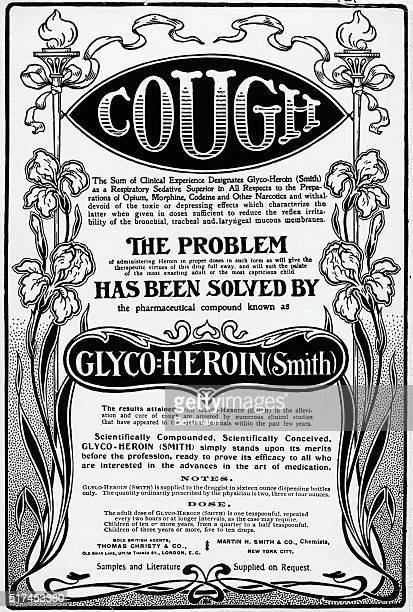 Advertisement for cough medicine made with heroin Undated illustration