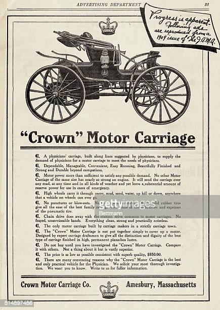 """Advertisement for """"Crown"""" Motor Carriage, directed to physicians and appearing in 1909 issue of the J.A.M.A."""