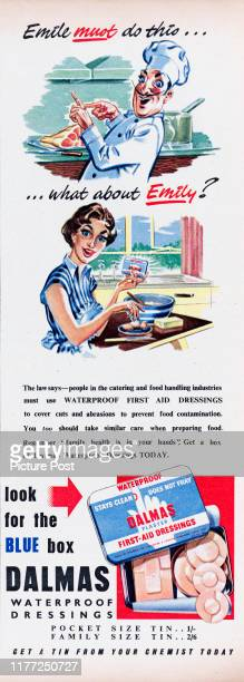 Advertisement for Dalmas waterproof firstaid dressings Original Publication Picture Post Ad Vol 70 No 11 P 32 pub 17th March 1956