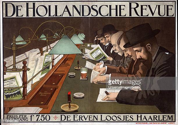 Advertisement for 'De Hollandsche Revue' Dutch periodical, showing men sitting at a long desk reading the Revue to light of electric lamps. Artist,...