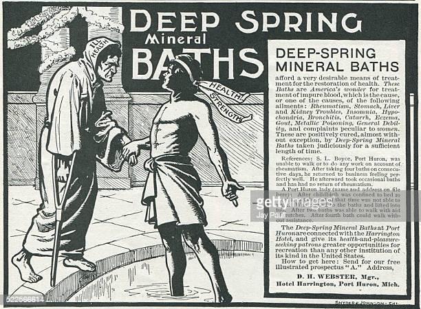 Advertisement for deep spring mineral baths at the Hotel Harrington, Port Huron, Michigan, 1902.