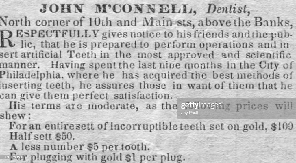 Advertisement for dentist John M'Connell in Richmond