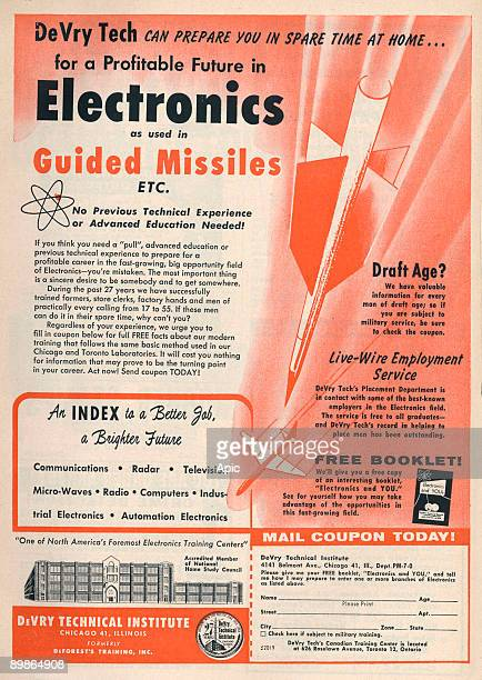 Advertisement for DeVry technical institute which make electronics used in guided missiles july 1958