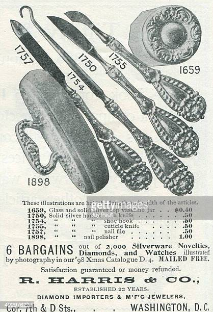 Advertisement for diamond jewelry watches silver top vaseline jars shoe hooks nail files and other items by R Harris and Company in Washington DC 1898