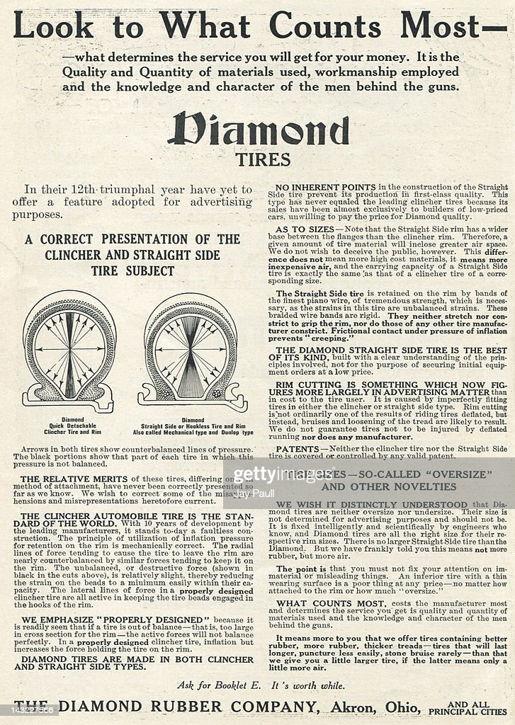 Used Tires Akron Ohio >> Advertisement For Diamond Tires By The Diamond Rubber Company Of
