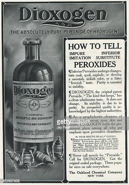 Advertisement for Dioxogen peroxide antiseptic and disinfectant by The Oakland Chemical Company 1907