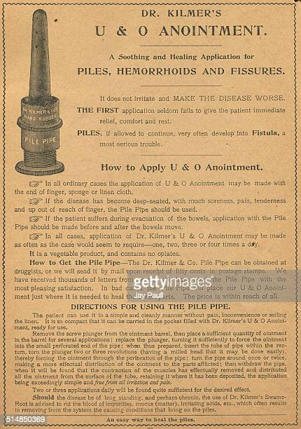 Advertisement for Dr Kilmer's UO Anointment to treat piles hemorrhoids and fissures by Dr Kilmer Company in New York 1916 The ad includes a picture...
