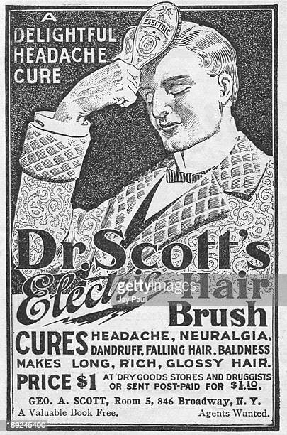 Advertisement for Dr Scott's electric hair brush curing headache neuralgia dandruff failling hair and baldness by George A Scott in New York 1899