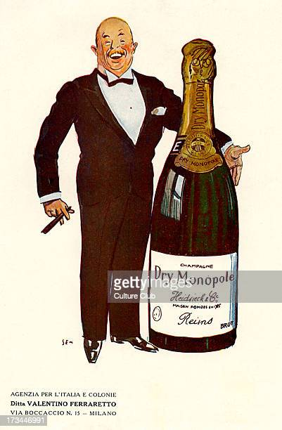 Advertisement for Dry Monopole champagne 1928 Man wearing a dinner suit with a cigar in his hand standing next to a giant champagne bottle