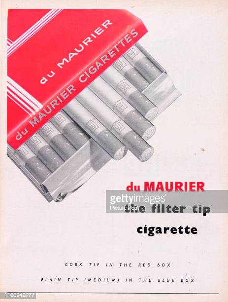 Advertisement for du Maurier Cigarettes showing an opened box of cigarettes and the caption 'du Maurier the filter tip cigarette' Original...
