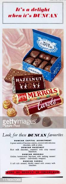 Advertisement for Duncan chocolatesshowing packets of Duncan Capital Assortment Duncan Hazelnut Duncan Merrols and Duncan Carols Original...