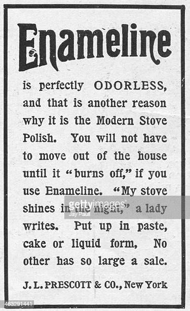 Advertisement for Enameline stove polish by J.L. Prescott and Company, New York, 1899.