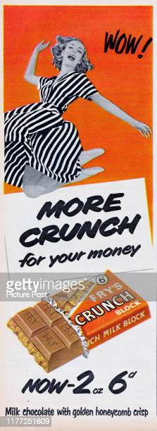 Advertisement for Fry's Crunch chocolate bar with the caption 'More crunch for your money' Original Publication Picture Post Ad Vol 71 No 2 P 45 pub...