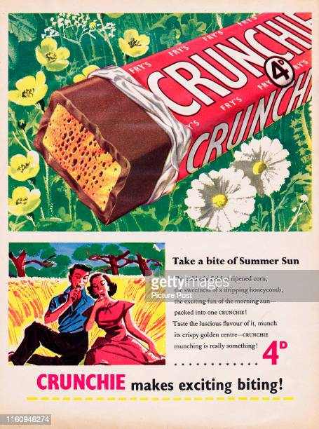 Advertisement for Fry's Crunchie chocolate bar with the caption 'Take a bite of Summer Sun' Original Publication Picture Post Ad Vol 64 No 14 P 4 pub...