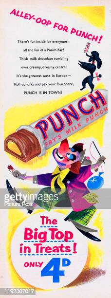 Advertisement for Fry's Punch chocolate bar with the caption 'Alleyoop for Punch' Original Publication Picture Post Ad Vol 69 No 07 P61 pub 12th...
