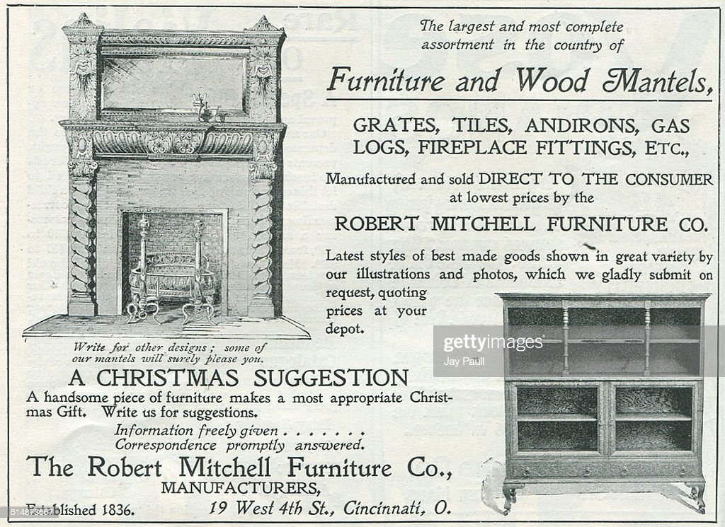 Advertisement For Furniture And Wood Mantels By The Robert Mitchell  Furniture Company In Cincinnati, Ohio