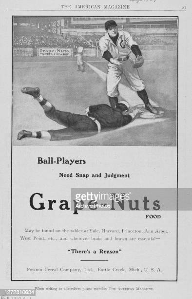 Advertisement for Grape Nuts breakfast cereal with an illustration depicting a baseball player sliding in to touch base with the strapline reading...