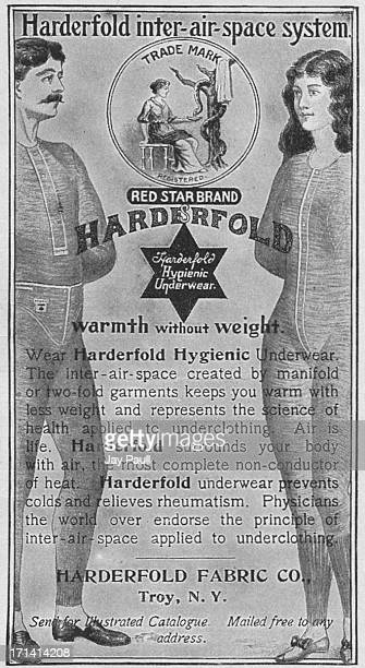 Advertisement for Harderfold hygienic underwear by the Harderfold Fabric Company in Troy New York 1901
