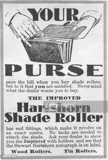 Advertisement for Hartshorn's shade roller window blinds by Stewart Hartshorn, 1897.