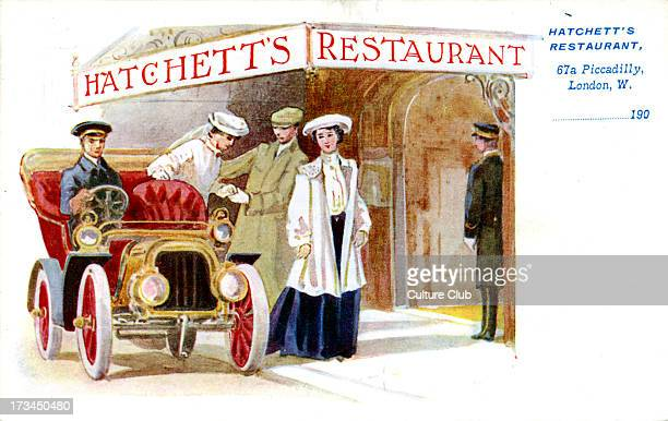 Advertisement for Hatchett's Restaurant London 67a Piccadilly Shows two women and a man entering Hatchett's Restaurant After getting out of their...