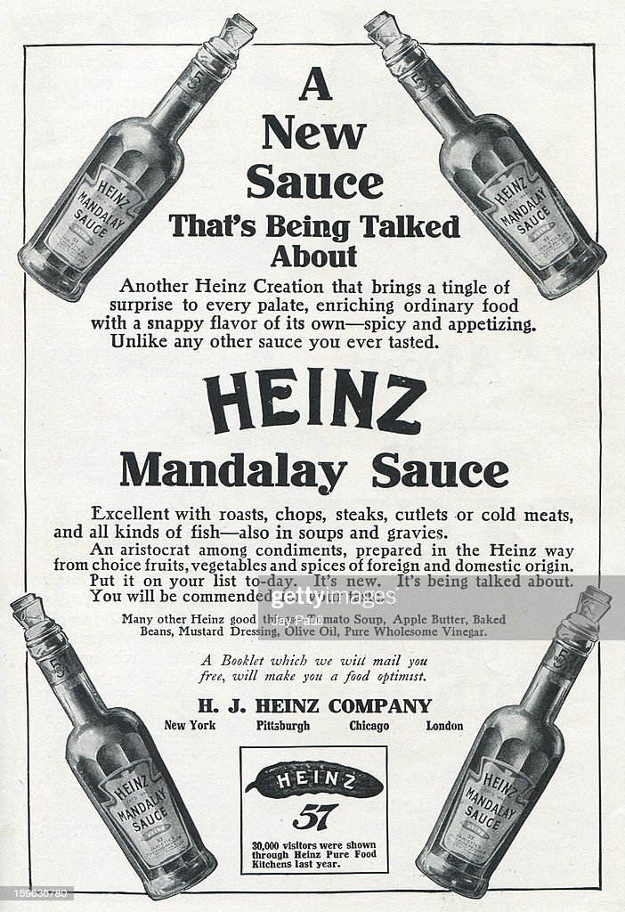 Advertisement for Heinz Mandalay Sauce by H.J. Heinz Company in New York and Pittsburgh, 1907.