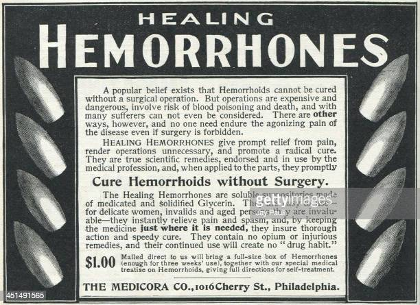 Advertisement for Hemorrhones to cure hemorrhoids without surgery by The Medicora Company 1899