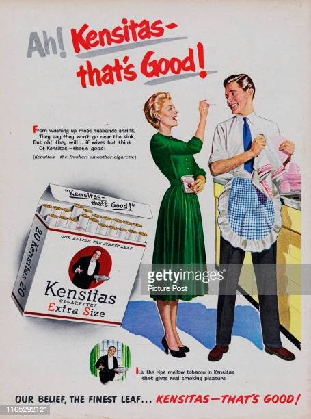 Advertisement for Kensitas cigarettes showing a man wearing a pinafore apron while drying dishes Original Publication Picture Post Ad Vol 61 No 13 P...