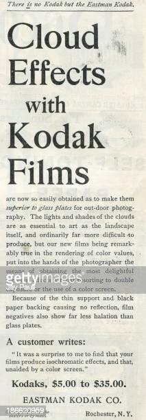 Advertisement for Kodak by the Eastman Kodak Company in Rochester New York 1899 Kodak films are advertised