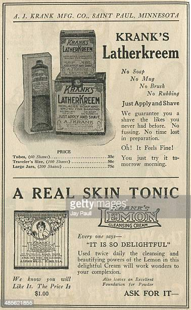 Advertisement for Krank's Latherkreem for shaving and Kramk's lemon cleansing cream for beauty by the AJ Krank Manufacturing Company, St Paul,...