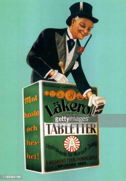 Advertisement for Lakerol a Swedish brand of cough drops with an illustration of man in formal attire and a top hat 1920