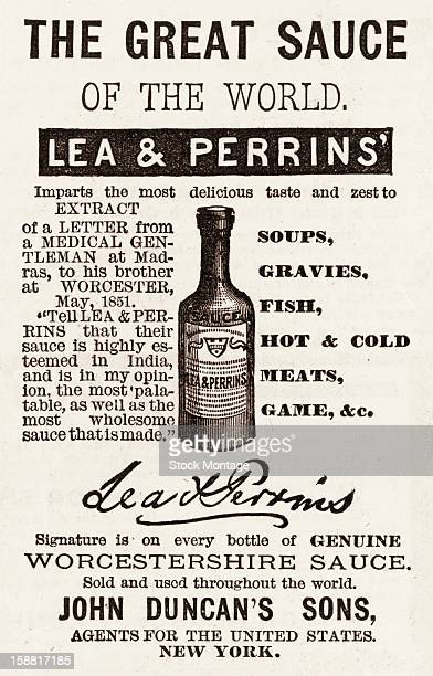 Advertisement for Lea Perrins Worcestershire sauce 1883 Accompanied by an illustration the text reads in part 'Imparts the most delicious taste and...