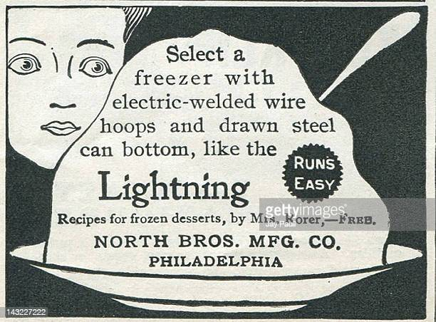Advertisement for Lightning Freezer made by North Brothers Manufacturing Company in Philadelphia 1902