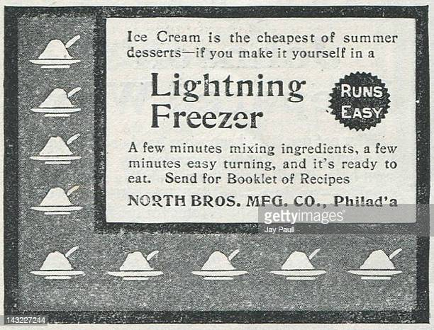 Advertisement for Lightning Freezer made by North Brothers Manufacturing Company in Philadelphia 1901