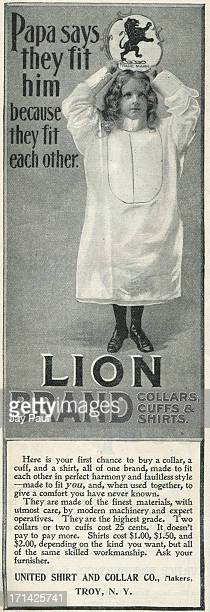 Advertisement for Lion Brand shirts collars and cuffs by the United Shirt Collar Company in Troy New York 1899