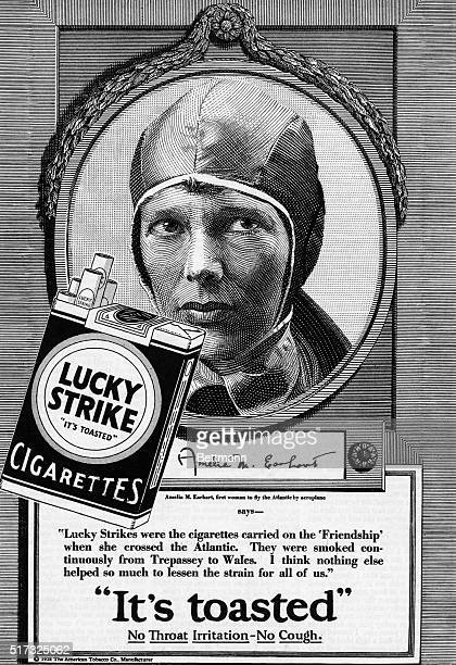 Advertisement for Lucky Strikes cigarettes with Amelia Earhart as celebrity spokesperson Engraving 1928 from the American Magazine