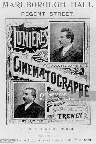 Advertisement for Lumiere Cinematographe exhibitied at the Marlborough Hall in Regent Street London Louis Lumiere and Auguste Lumiere were two French...